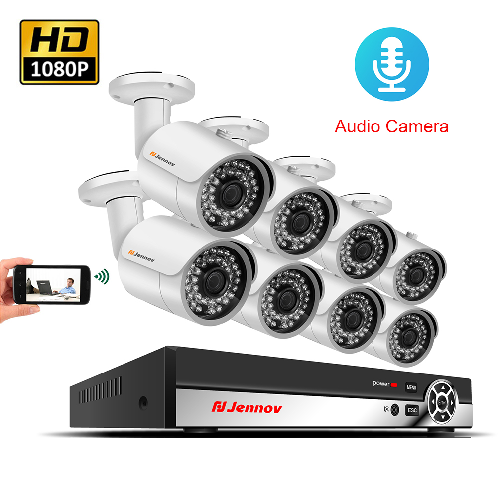 8CH POE Camera System 1080P 2MP Audio Record Video Surveillance System Set CCTV Kit NVR ip Camera P2P APP View By Mobile Phone цена