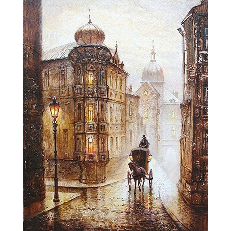 Frameless City Street Europa Pittura fai da te By Numbers Kit Disegno Acrilico Immagine dipinta a mano Pittura ad olio Casa Wall Art Decor