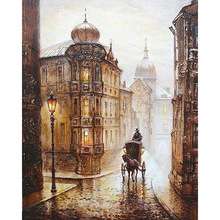 Frameless City Street Europe DIY Painting By Numbers Kits Drawing Acrylic Picture Hand Painted Oil Painting Home Wall Art Decor(China)