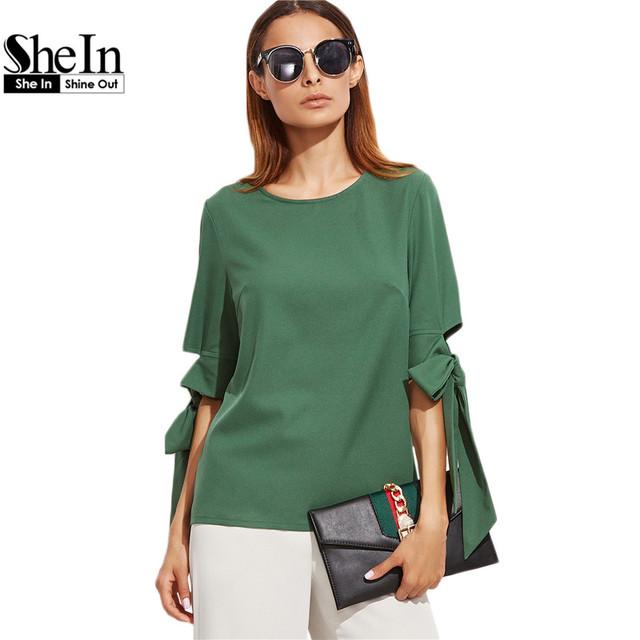 Shein clothing tops roupas femininas 2017 mulheres verão verde em torno do pescoço meia manga keyhole voltar bow tie top de manga
