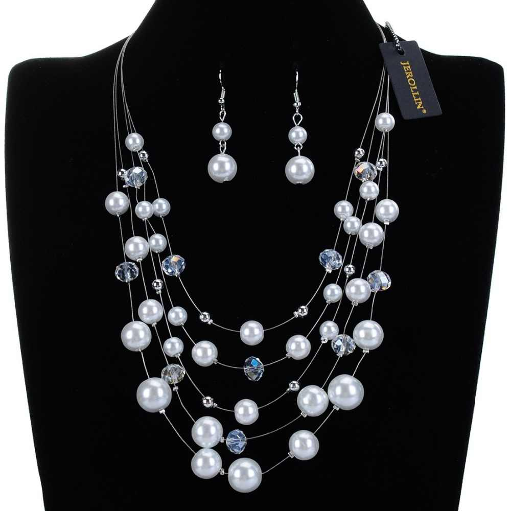 New Arrival Jewelry Set Alloy Chain 7 Colors Pearl White Crystal Necklace Earrings Jewelry Sets