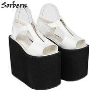 Sorbern/женские туфли на танкетке; Sandalias Mujer; коллекция 2019 года; Летние дизайнерские брендовые босоножки на молнии; цвет на заказ; женские босоно