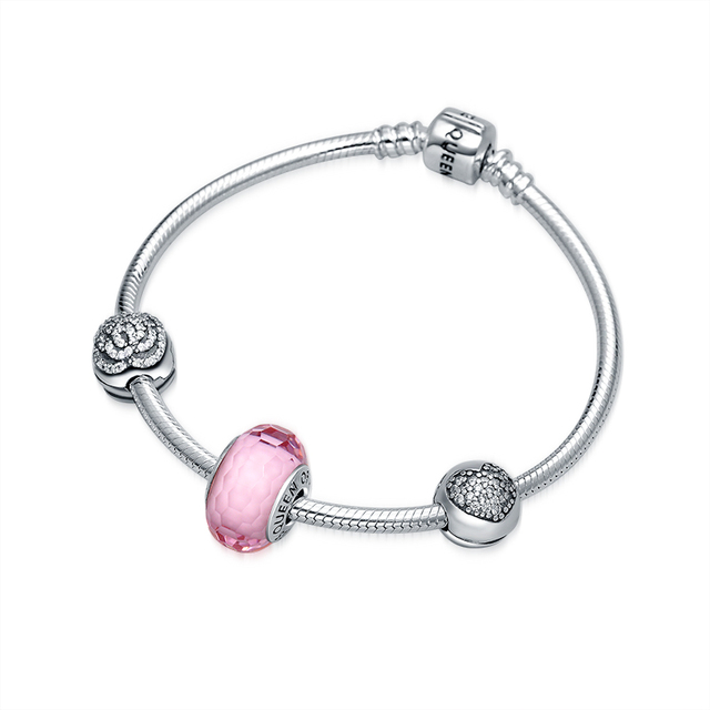 QUEEN OF HEART Fine Jewelry European Style 925 Sterling Silver Charm Bracelet Pink Quartz Crystal Faceted Beaded Bracelet N1