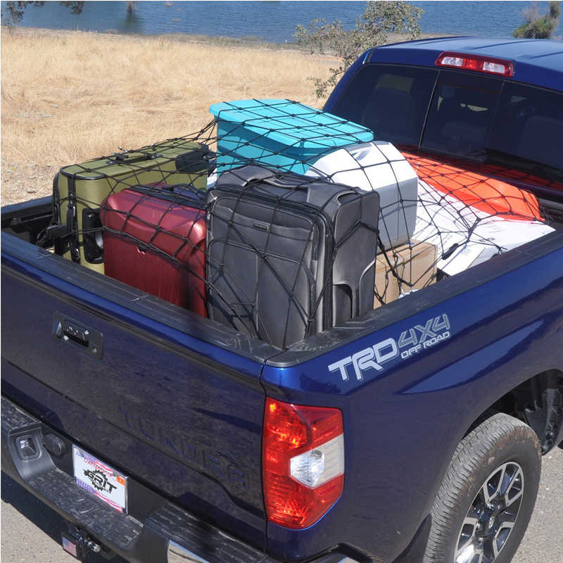 Truck Bed Cargo Net >> Cargo Nets For Pickup Trucks 4 X 6 Heavy Duty Truck Bed Net Max Stretches To 8 X 12 With 16 Pcs Metal Carabiners Hooks