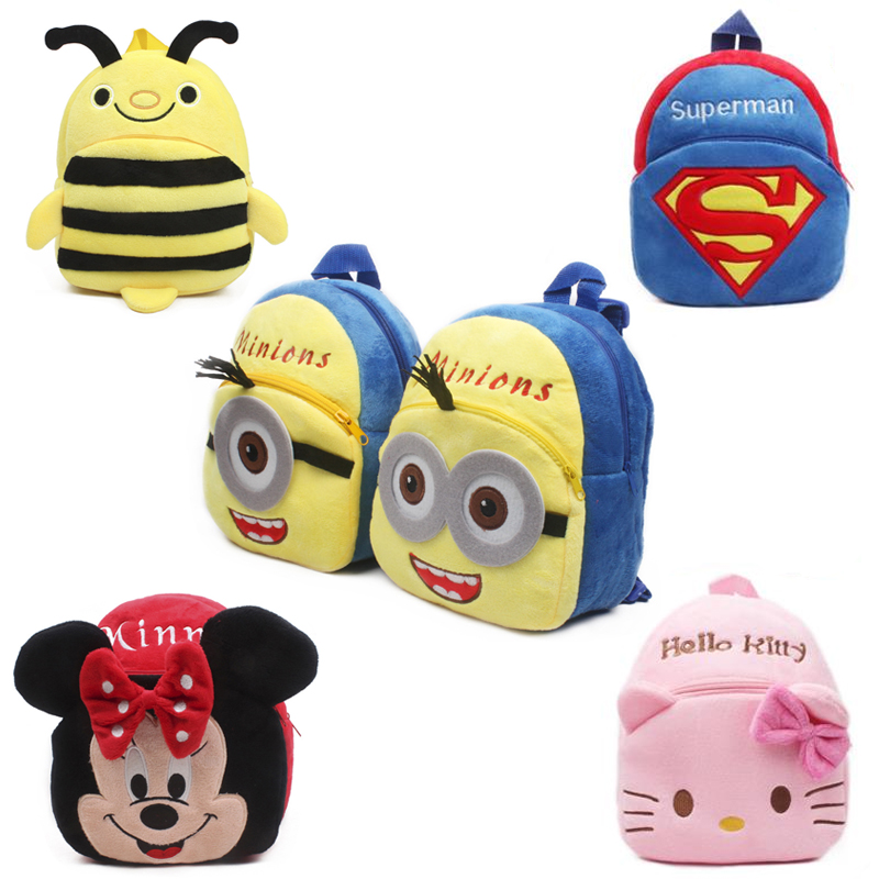 New cute cartoon kids plush backpack toy mini school bag Children's gifts kindergarten boy girl baby student bags lovely Mochila 2015 new lovely baby character school bags children my melody design backpack girls toy mini cute bags kids gift