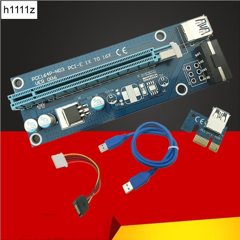 Wholesale USB 3.0 PCI-E Riser Express 1X 4x 8x 16x Extender Riser Adapter Card SATA 15pin Male to 4pin Power Cable aitmexcn 60cm usb 3 0 pci e express 1x 4x 8x 16x sata extender riser adapter card 15pin male to 6pin power cable 6pcs 006c
