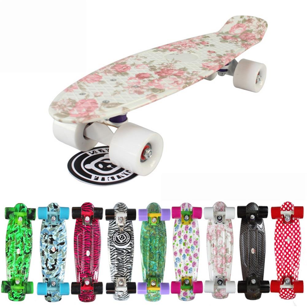 New 22 inches Retro Classic Cruiser Style Skateboard Complete Deck Plastic Mini Skate Board for Adult or Children CS0002 22 inch cl 94 printing sky blue skateboard starry pattern skate board complete retro cruiser longboard skateboard