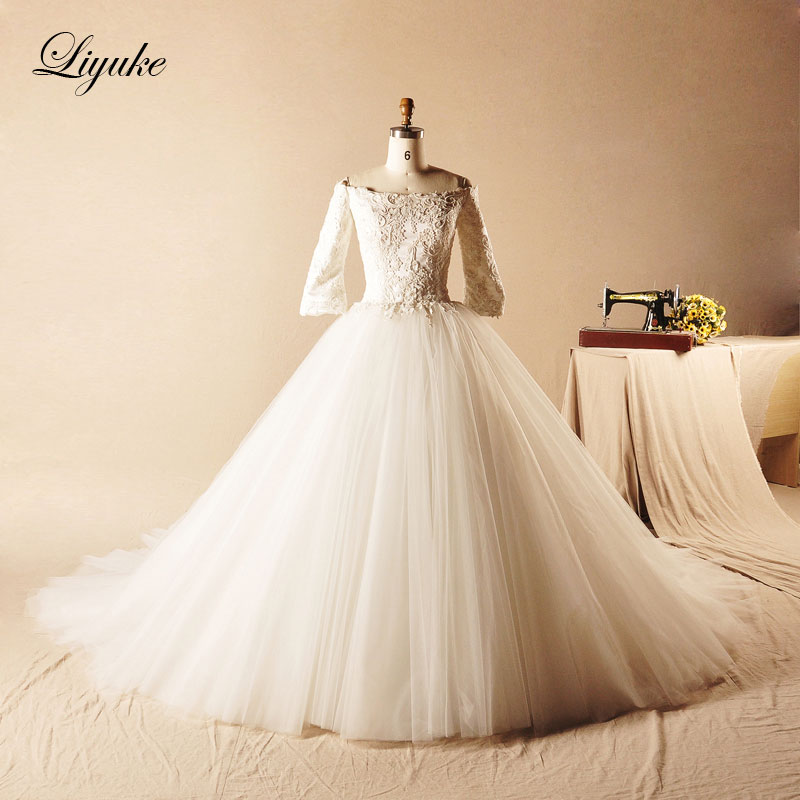 Liyuke Glamor Organza Scoop Leher A-Line Lace Up Gaun Pengantin Kapel Kereta Renda Pinggang Alami Vestido De Noiva