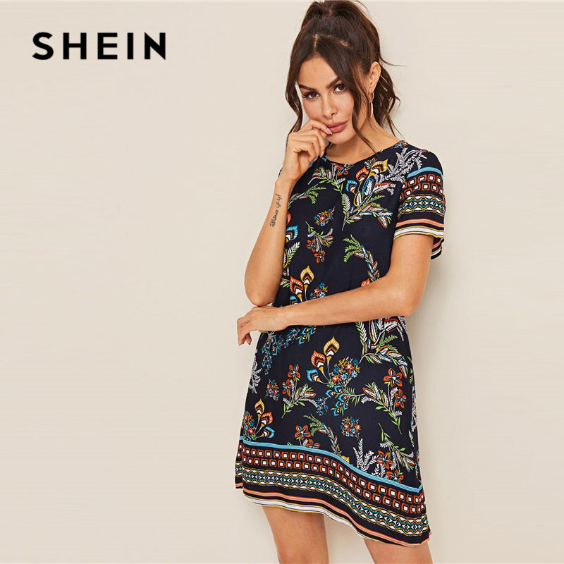 SHEIN Mixed Print Keyhole Back Tunic Summer Dress Women 2019 Short Sleeve Round Neck Boho Dress Straight Loose Mini Dresses
