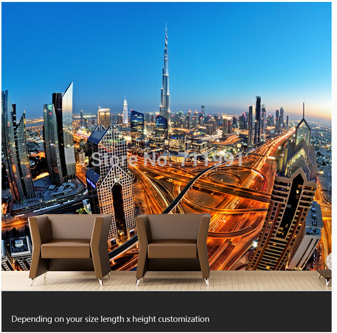 Free shipping custom modern 3D large murals TV setting wall of the sitting room bedroom wallpaper skyscrapers in Dubai