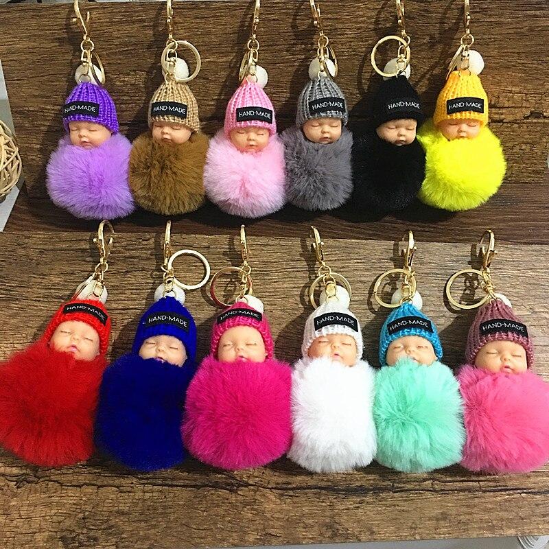 Fashion Sleeping Baby Doll Keychain Women Fluffy Pompom Key Chain Llaveros Pom Pom Keyring Key Holder Bag Chaveiro Pompon Porte