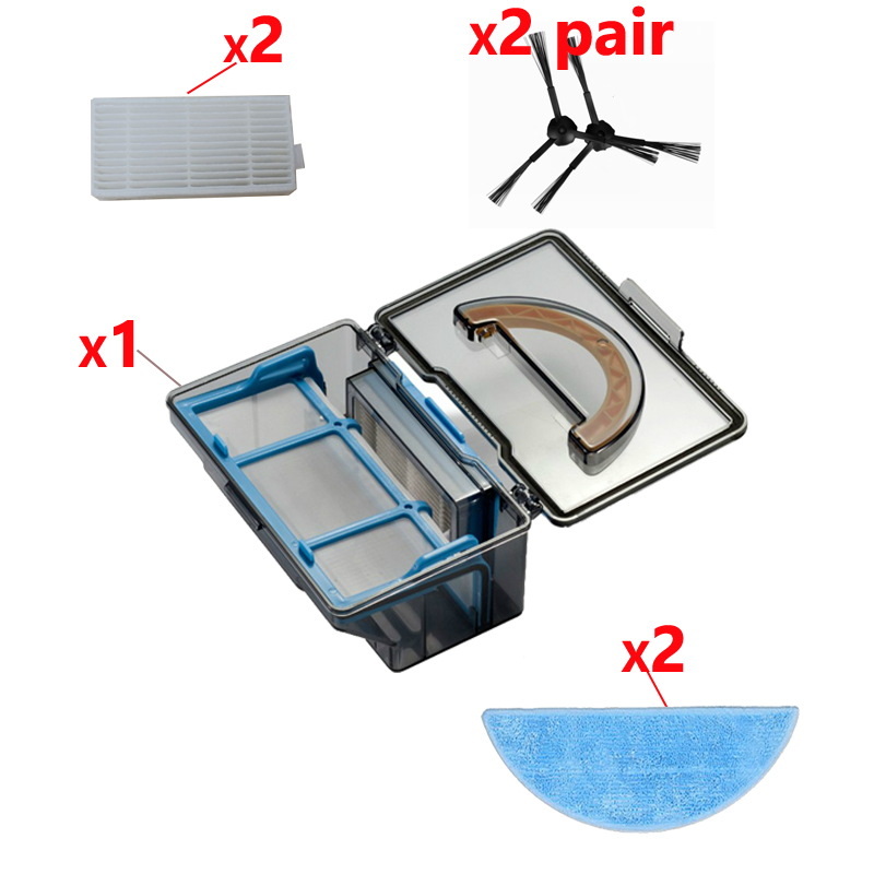 dust box*1+2*Pair side Brush+2*hepa Filter+2*Mop cloth for ilife x5 v5s V3 V3+ v5pro ilife v5s pro robot vacuum cleaner Parts cheapest 1pcs cleaning mopping cloth 3 pair hepa filter 3 pair cleaner side brush for dt85 dt83 dm81 vacuum cleaner for house