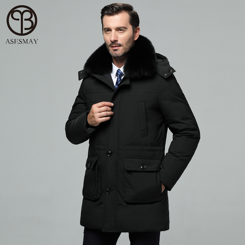 Asesmay Brand Mens Winter Jackets And Coats High Quality White Duck Down Parkas Hoodies Real Fur Collar Smart Casual Long Jacket