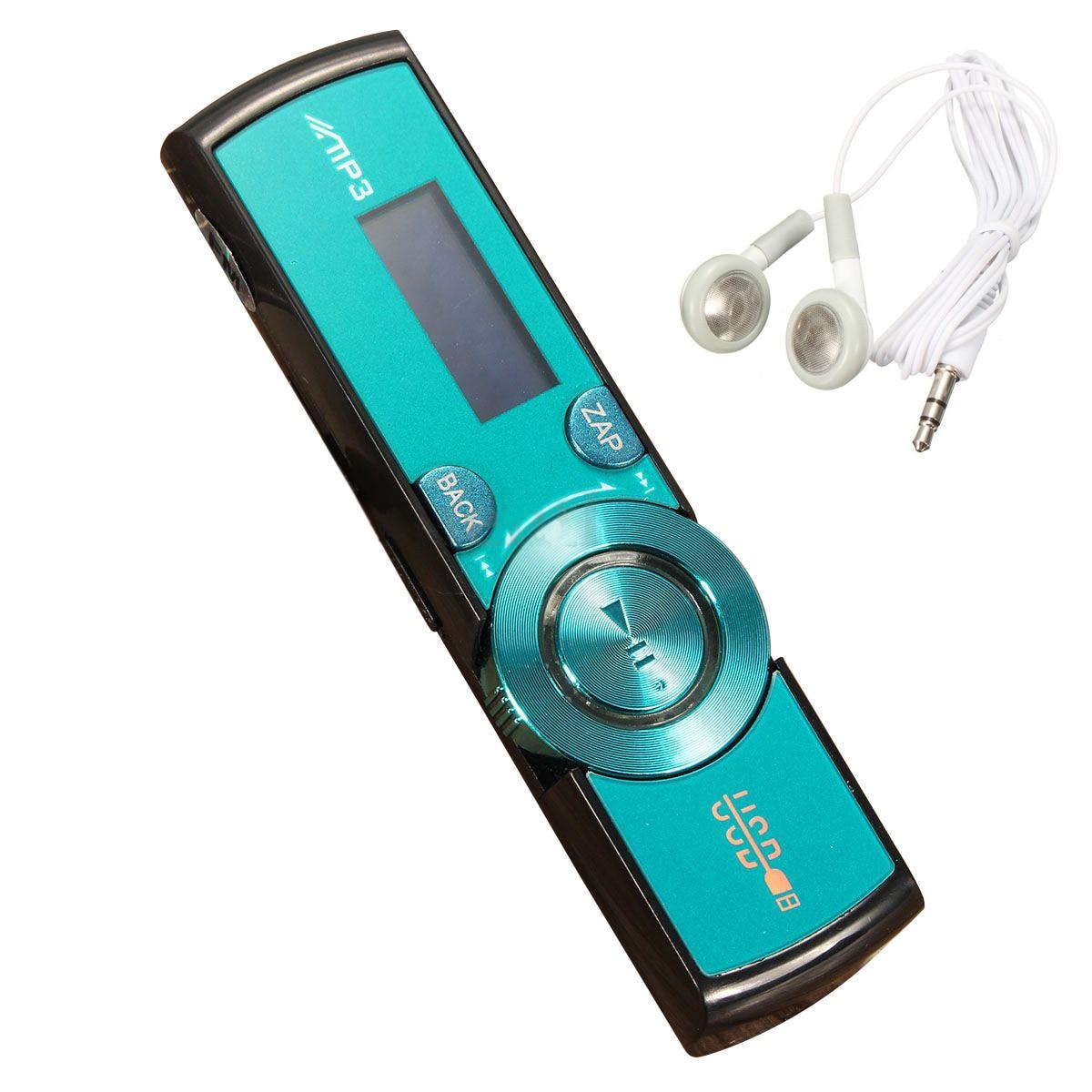 Cartão micro sd/tf do apoio 16 gb do jogador de rádio fm do jogador de mp3 do usb do lcd com fones de ouvido 5 cores