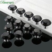 bowarepro Diamond Crystal Glass knob handles for furniture hardware kitchen handles door accessories 40mm 12pcs+36Pcs Screws