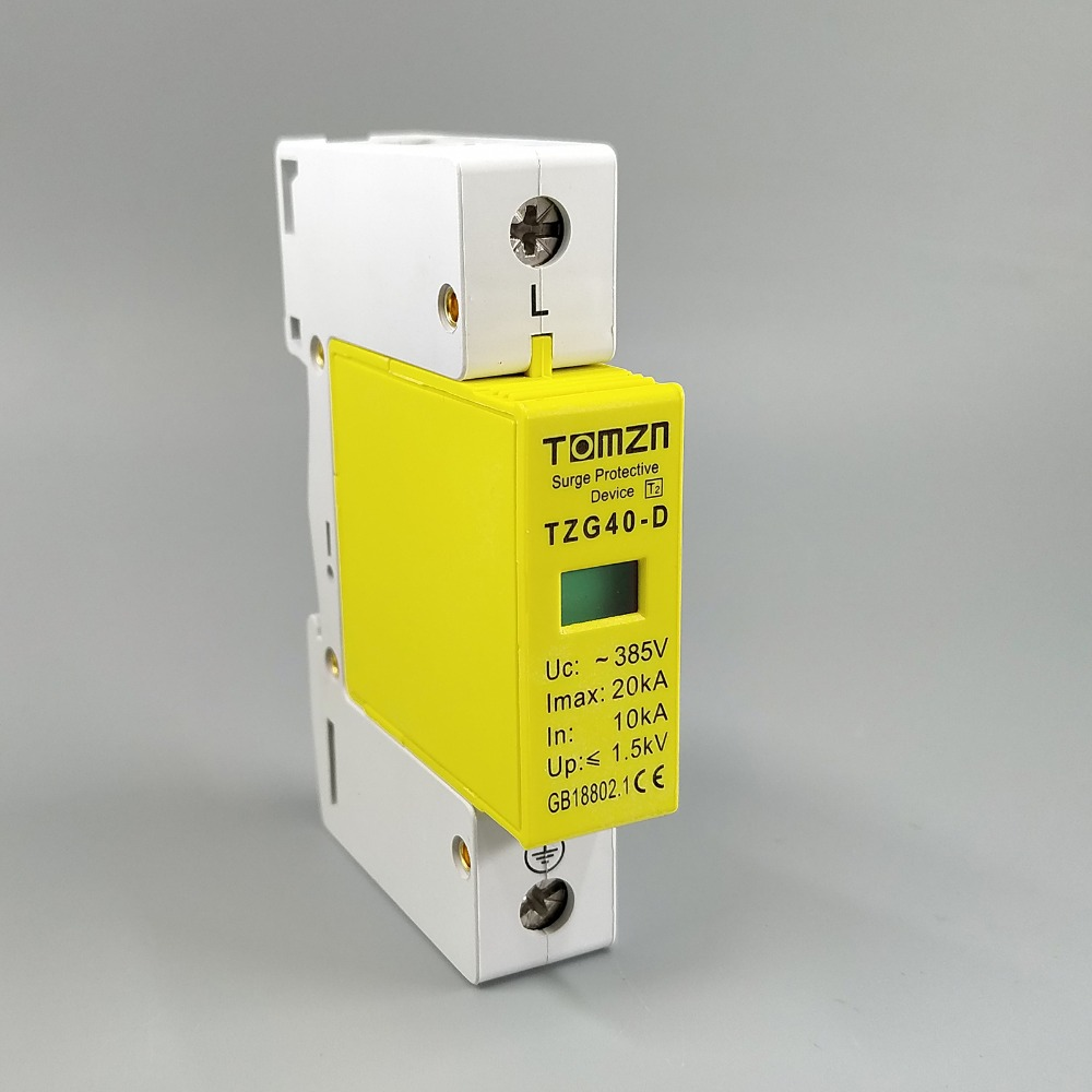 SPD 1P 10KA~20KA D ~385VAC House Surge Protector Protection Protective Low-voltage Arrester Device rs 485 10ka in out surge protection device blue 6v 24v