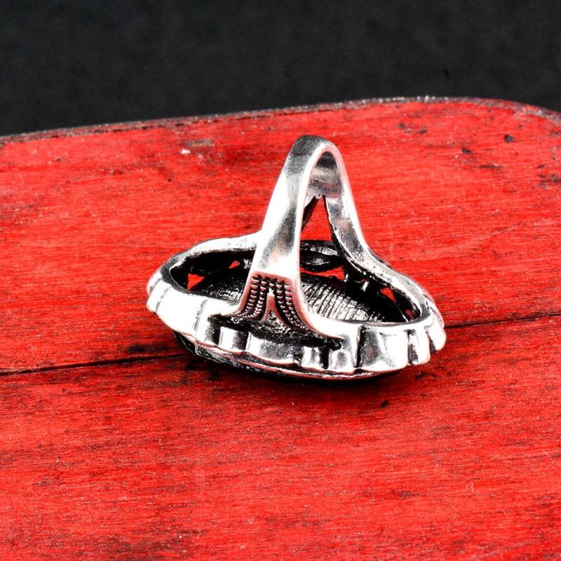 SINLEERY Vintage Big Black Oval Stone Rings For Women Størrelse 6 7 - Mote smykker - Bilde 5