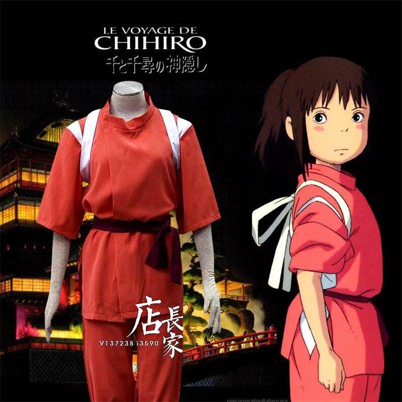Hot nouveau Anime animé animé loin Ogino Chihiro Cosplay Costumes hommes femmes enfants vêtements rouge Cosplay costume dessin animé soutien personnalisé