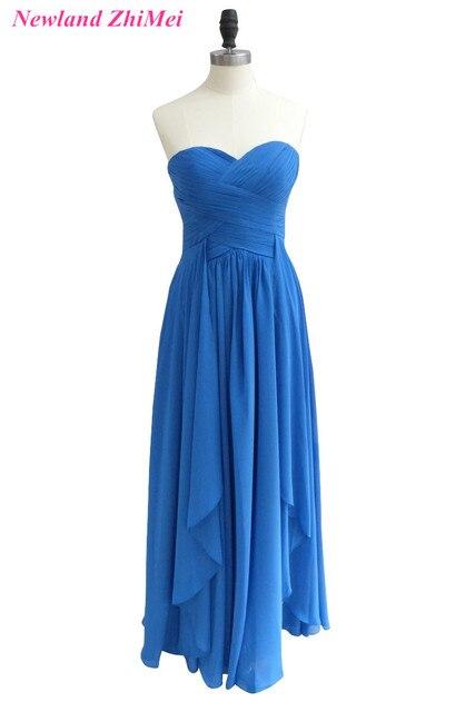 af565320df Azul Simple Vestido de Dama de honor 2017 Amor Atractivo Plisado Piso- Longitud Gasa Vestidos
