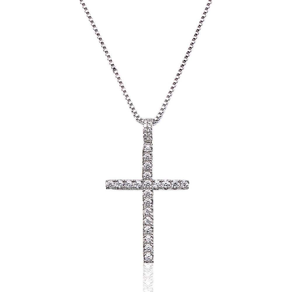 VANAXIN Hip Hop Cross Necklaces&Pendants For Women Religious Iced Out Rhinestone Jewelry Cubic Zircon Gold/Silver Color Necklace newbark silver color cubic zircon bridal jewelry necklace leaf shape rhinestone choker necklaces for women wedding