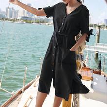 0ddb355af1 2019 nuevo de moda cuello en V botón frente abierto Arco-Nudo lateral verano  playa vestido negro de algodón blanco de túnica de .