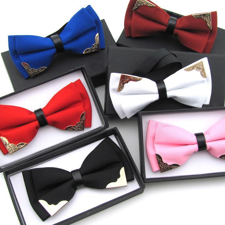 2017 New Fashion Boutique Metal Head Bow Ties For Groom Men Women Butterfly Solid Bowtie Classic Gravata Cravat