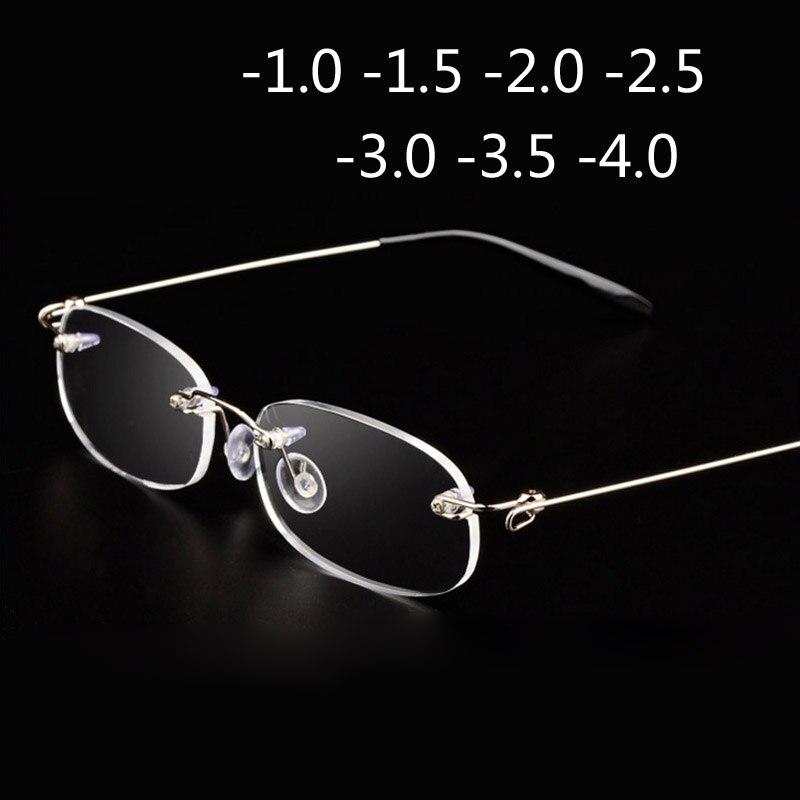 ללא שפה מתכת מסגרת קצרי רואי זכוכית Ultralight התאגרף קצרי רואי קוצר ראייה משקפיים נשים גברים-1.0-1.5-2-2.5 -3-3.5-4.0