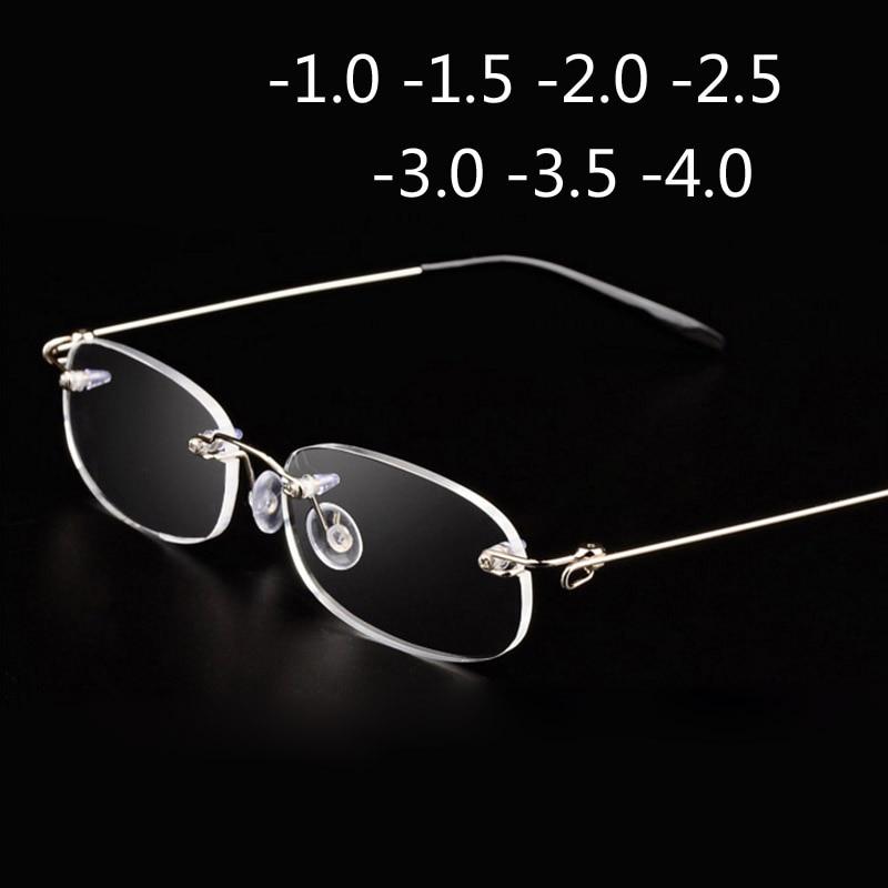 Rimless Metal Frame Nearsighted Glass Ultralight Boxed Shortsighted Myopia Glasses Women Men -1.0 -1.5 -2 -2.5 -3 -3.5 -4.0