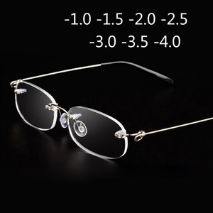 Rimless Metal Frame Nearsighted Glass Ultralight Boxed Shortsighted Myopia Glasses Women Men -1.0 -1.5 -2 -2.5 -3 -3.5 -4.0(China)
