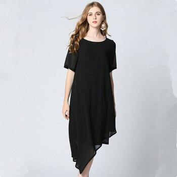 240e9708c35 Красивые Черный цвет  Большие размеры нерегулярные летнее шифоновое платье  Для женщин Новинка o-образным вырезом короткий рукав L-5XL Новое п.