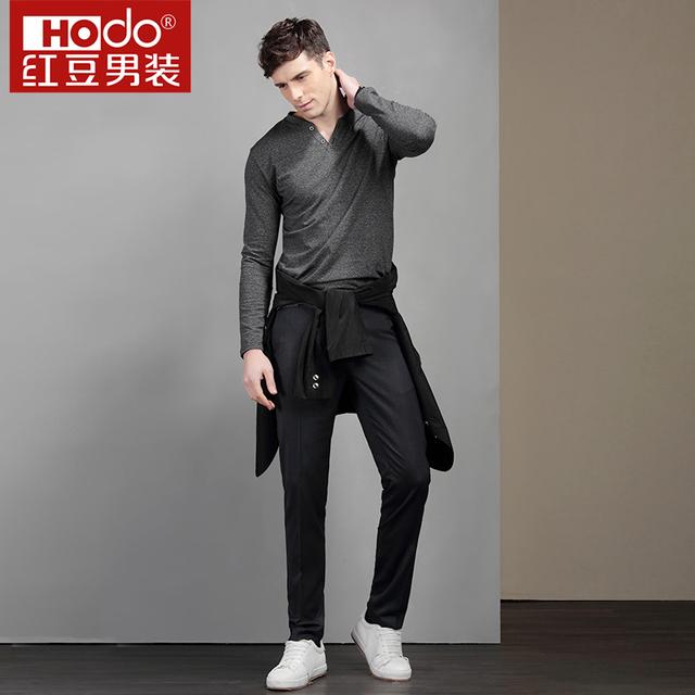 Hodo Men's T Shirts Brand Solid Color T-shirt Men Fashion Full Sleeves T-shirts V-neck Knitted Mens Long Sleeve Shirts
