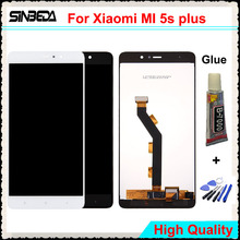 Sinbeda 5.7″ LCD Panel For Xiaomi MI 5S Plus Mi5s Plus LCD Display Touch Screen Digitizer Assembly Replacement Black/White+Glue