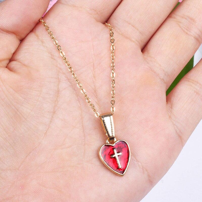 Lady moda gotejamento cruz do amor colar de corrente colar clavícula Lady love fashion Ms vermelho breve parágrafo colar de aleluia