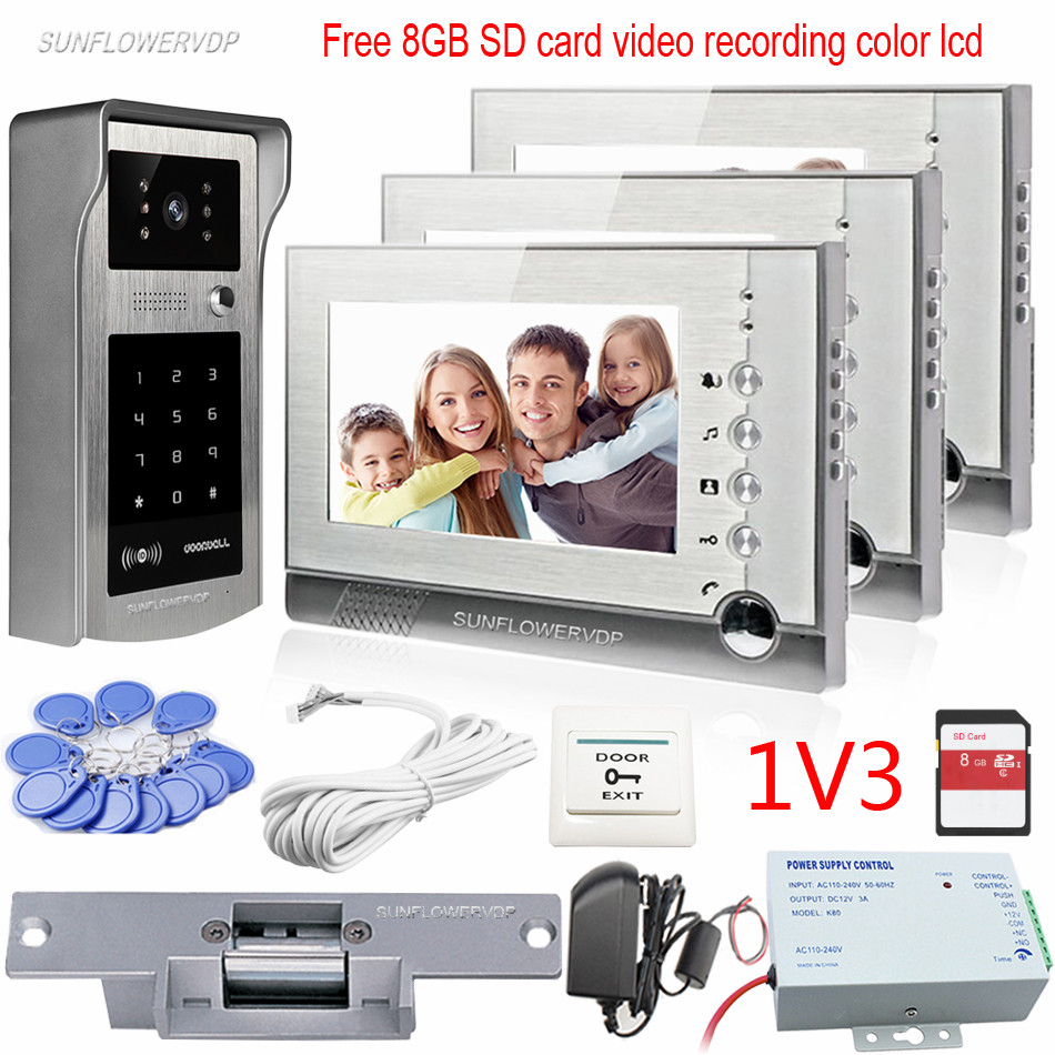 Rfid Video Recording Intercom System For 3 Apartments Color 7 8GB SD Card Memory Monitors Keypad Video Doorphone With Door Lock 3 monitors 7 video intercom with reording 8gb tf memory cards intercom door rfid camera for 3 apartments electric strike lock
