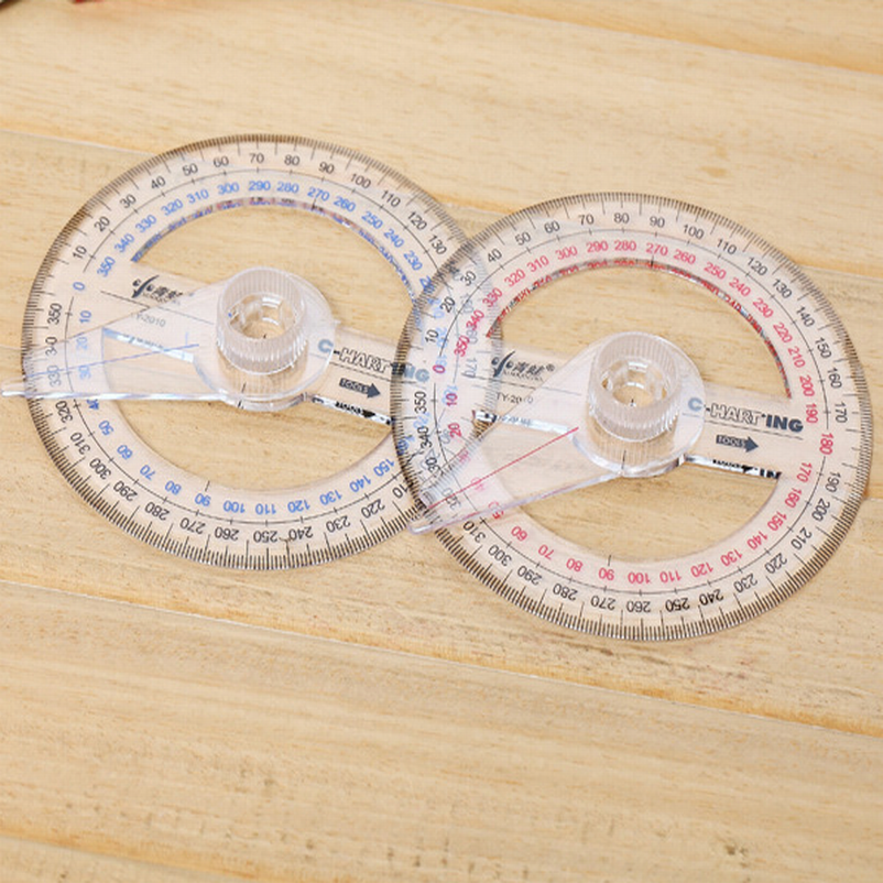 500PC All Circular 10cm Plastic 360 Degree Pointer Protractor Ruler Angle Finder Swing Arm For School Office Supplies