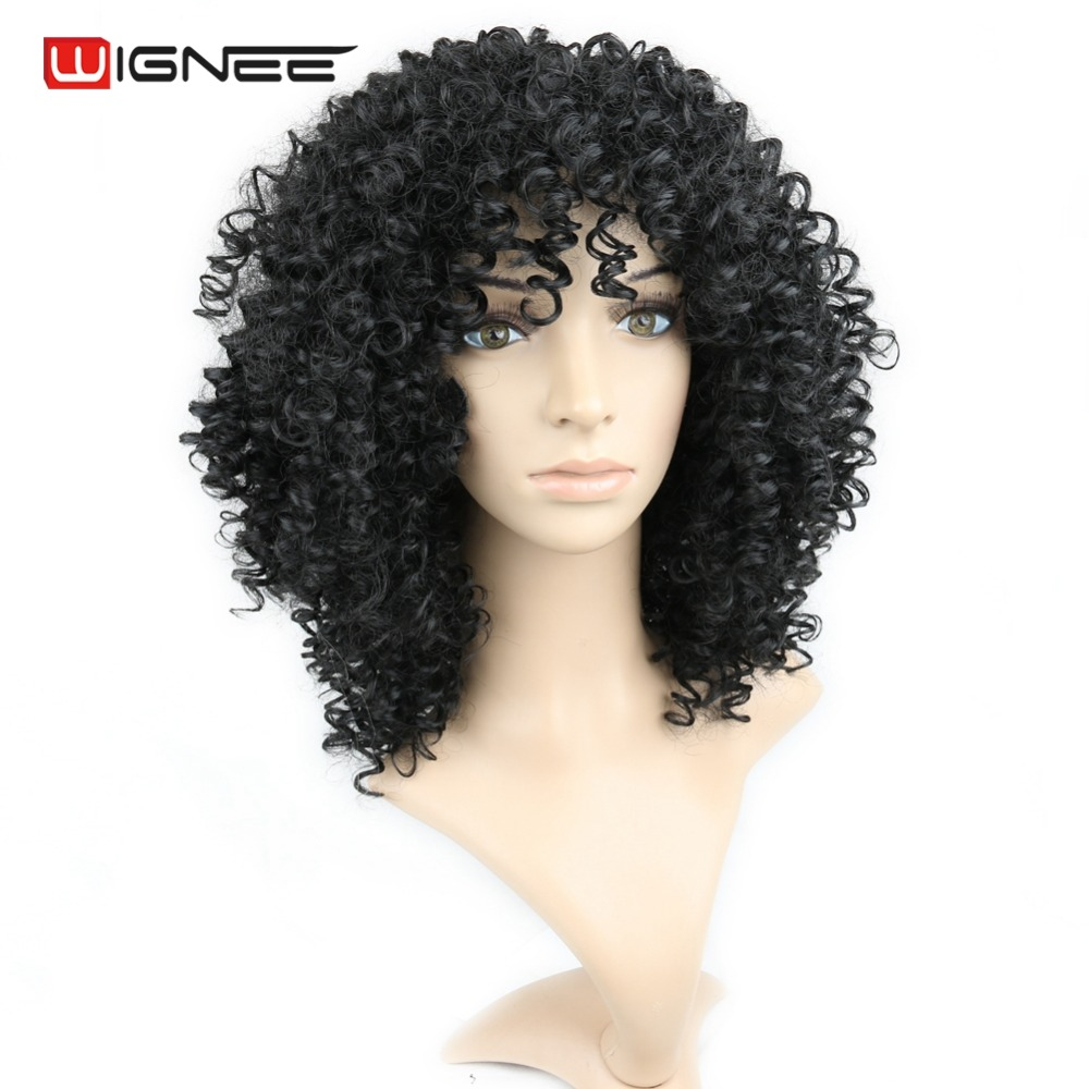 Wignee Medium Length Afro Kinky Curly Synthetic Women Wigs