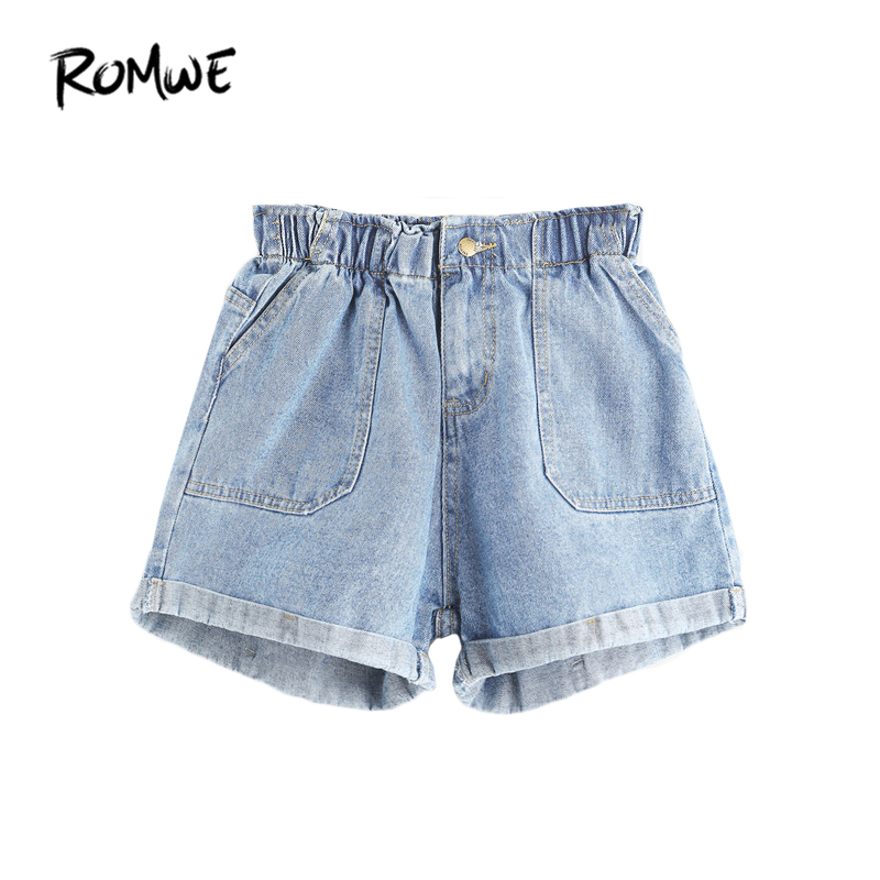ROMWE Mid Waisted Shorts for Women Jean Shorts Women Summer Blue Elastic Waist Rolled Hem Ladies Casual Denim Shorts