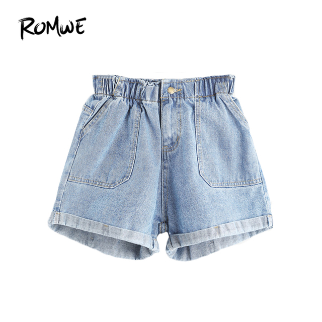 7acaea3f88e ROMWE Mid Waisted Shorts for Women Jean Shorts Women Summer Blue Elastic  Waist Rolled Hem Ladies