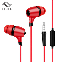 TTLIFE Brand Best Sound Powerful Bass In-ear Earphones Unisex Earbuds With Microphone For Ios Android Mobile phones Computer