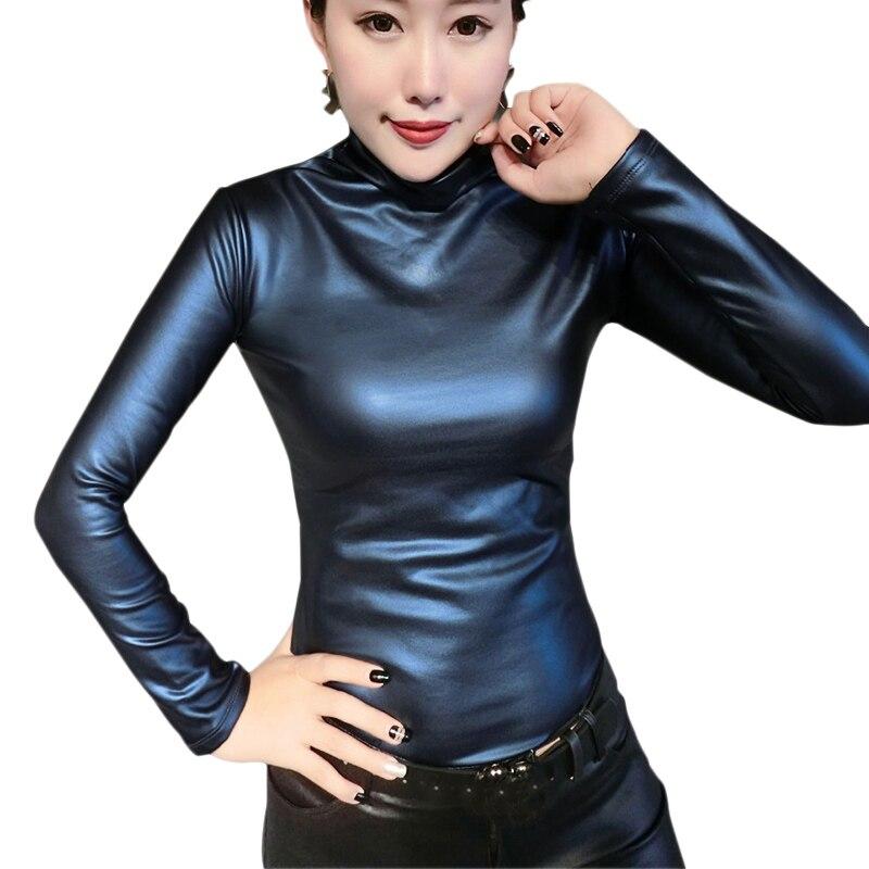Plus size womens   blouse     shirt   fashion elegant Turtleneck long sleeve leather tops   blouses   elastic PU velvet blusas femininas