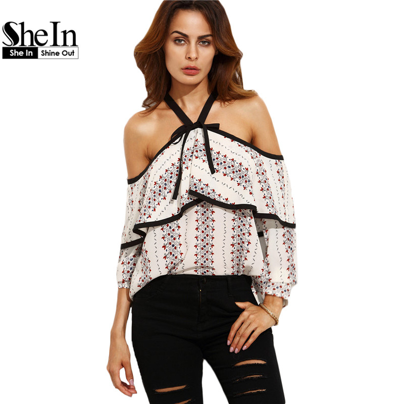 SheIn Womens Blouses For Autumn Ladies New Arrival Multicolor Print Halter  Cold Shoulder Bow Long Sleeve Casual Blouse-in Blouses   Shirts from Women s  ... a30d8a00fdd2