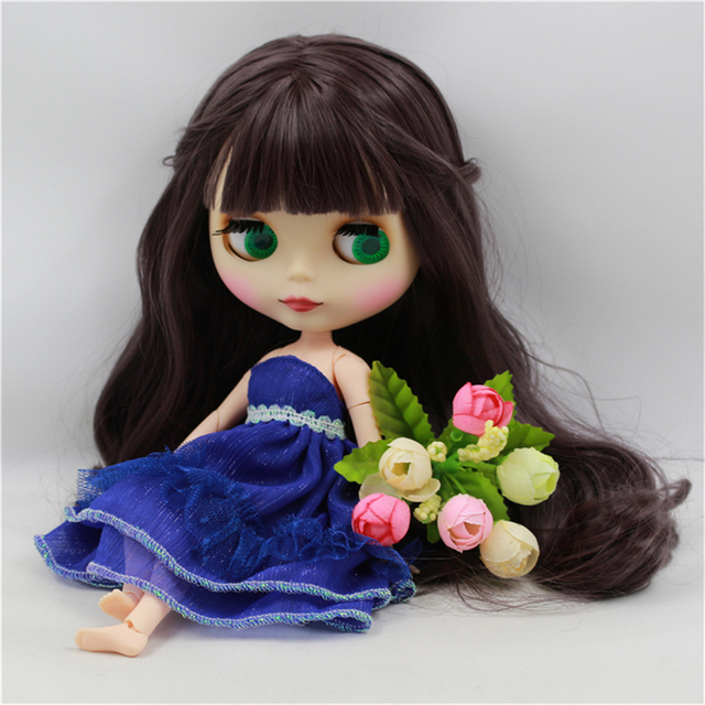 Blyth Doll Nude White Skin Deep Purple Long Wavy Hair With Bangs Matte Face Joint Body bjd DIY girl toy gift No.300BL9219  1