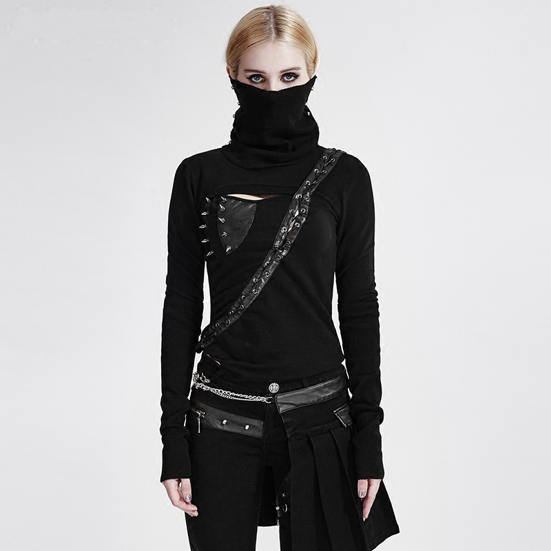 Steampunk Frau Schwarz High Neck Backless Asymmetrische Stricken T shirt Maske Stil Casual Langarm T shirt Tops