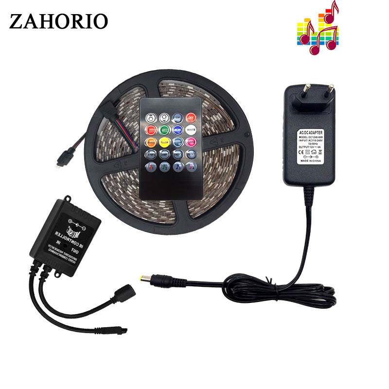 Led Strip SMD 5050 Waterproof RGB 5M 10M Tape Light Wifi/Music/24key/44key Controller DC12V Power Flexible Light Home Decoration
