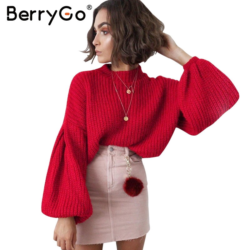 BerryGo Elegant black vintage knitted sweater Women casual long lantern sleeve jumper pullover Autumn winter loose grey sweater