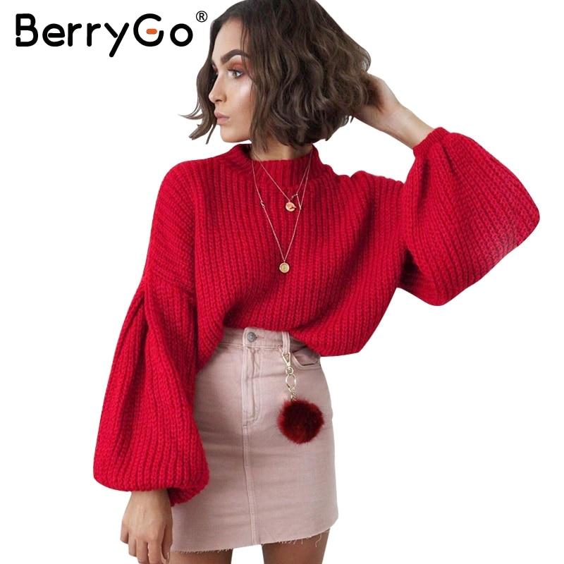 BerryGo Elegant black vintage knitted sweater Women casual long lantern sleeve jumper pullover Autumn winter loose grey sweater