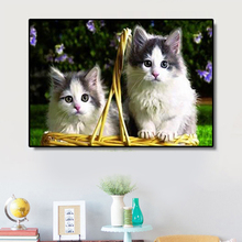 5D Diy Diamond Painting Cat Embroidered Cross Stitch Cute Dog & Crystal Animal Live Decoration LUOVIZEM L199