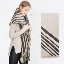 2016 za Brand Winter Stripe Pattern Cashmere Women oversized Soft Scarf Shawl, Wrap