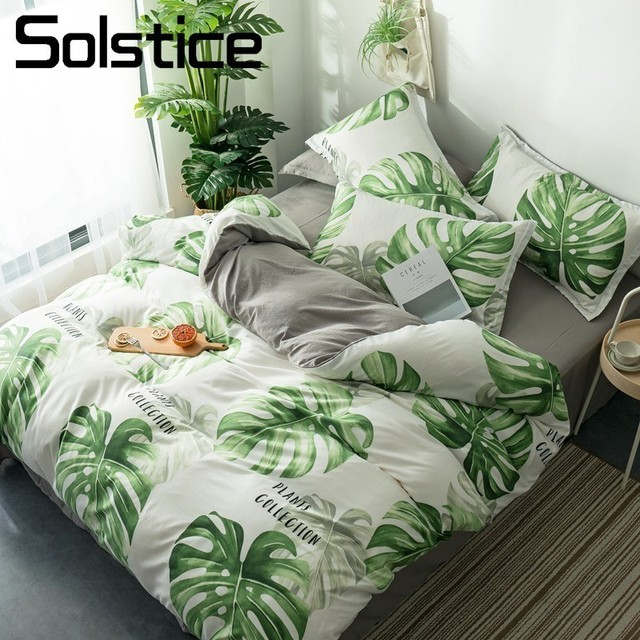 Solstice Home Textile Palm Frond White Gray Bedding Sets Soft Duvet Cover Pillowcase Flat Bed Sheet Linens For Teenage Boy Girls