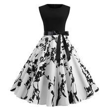 купить 2019 New Yfashion Women Vintage Style Round Neck Fashion Printing Sleeveless Dress по цене 561.43 рублей